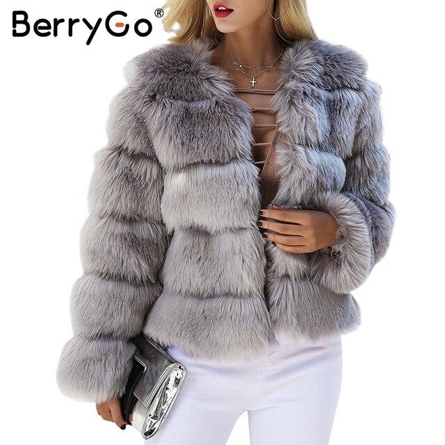 BerryGo abrigo de piel sintética mullido para mujer abrigo corto de piel falsa de invierno abrigo Rosa 2017 otoño casual para fiesta Mujer