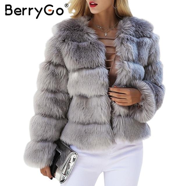 BerryGo faux fur mullido y abrigo corto Mujer peluda piel falsa ropa de invierno abrigo Rosa otoño de 2017 de fiesta casual abrigo Mujer