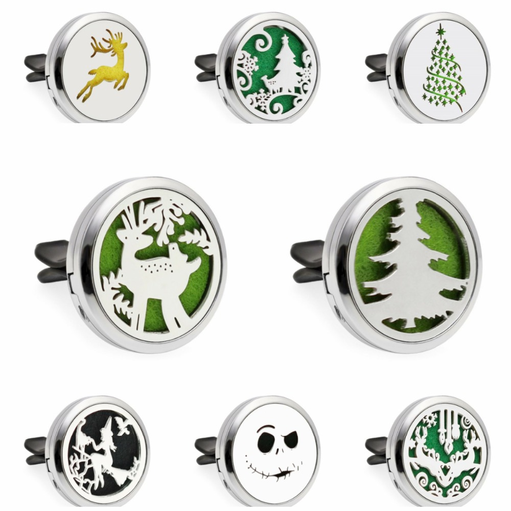 US $1 33 37% OFF|Christmas Tree Halloween Witch 30mm Car Diffuser Locket  Vent Clip Essential Oil Aromatherapy Perfume Diffuser Locket 10pcs Pads-in
