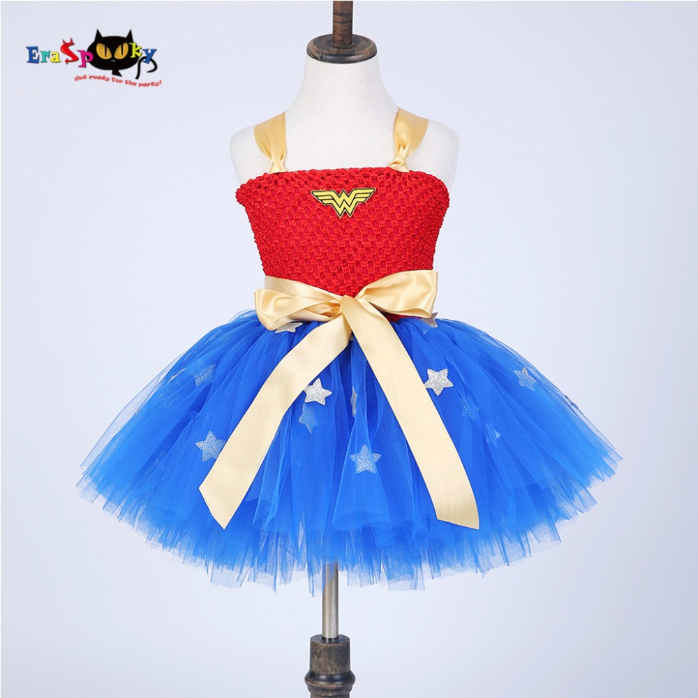 2017 New Arrival Christmas Cosplay Baby Wonder Woman Costume Superhero Costumes Superwomen Costumes For Girls Christmas Dress