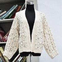 2018 Ladies Fashion Handmade Pearl Sweater Female Beading Twist Mohair Sweater Cardigan Thick Black Autumn Winter Coat