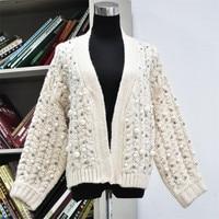 2019 Fashion Ladies Handmade Pearl Beading Twist Mohair Cardigan Sweater Oversized Thick Warm Knit Autumn Winter Sweater Coat