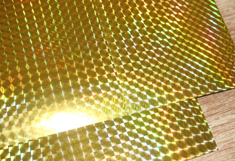 A4 Holographic Golden Grid Glossy Iridescent Sticky Adhesive Vinyl Sticker For Scrapbooking Art Craft 2/10/30/50pcs You Pick
