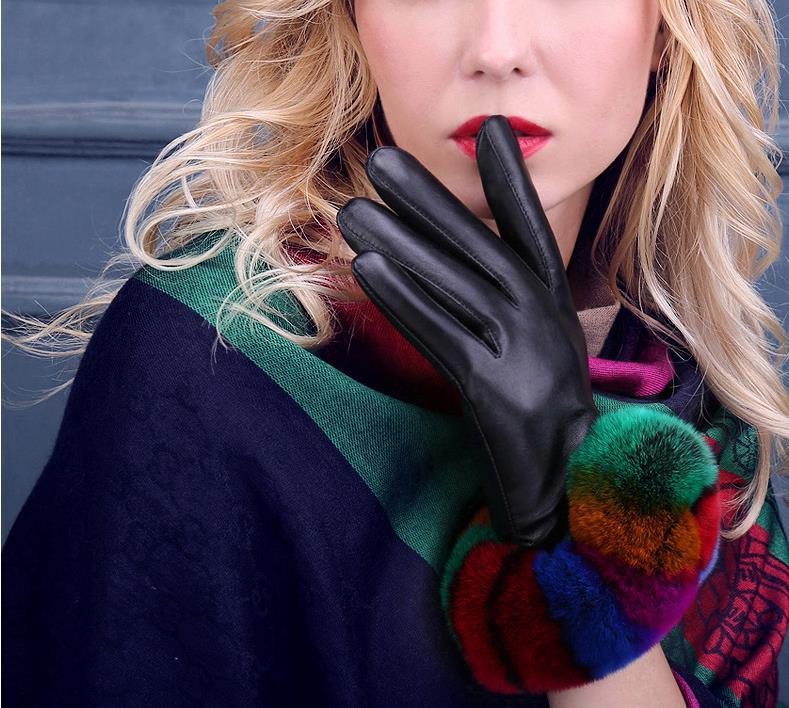 New arrival lady winter fashion genuine sheepskin leather gloves elegant rex rabbit fur trim