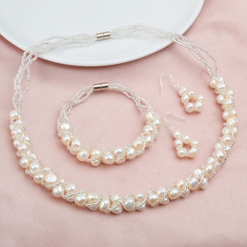 ASHIQI Natural Freshwater Pearl Jewelry Sets More Hand knitted Necklace Bracelet Earrings for Women NE BR