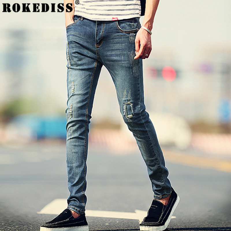 New Arrival Fashion Men s Jeans Water washed Straight Pants Blue Ripped Jeans Men Robin Men