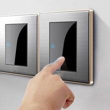 Interruptor de punto aleatorio LED CE 86, panel cepillado de acero inoxidable para el hogar, acrílico, 1, 2, 3, 4 entradas, 1 vía, 2 vías, enchufe europeo