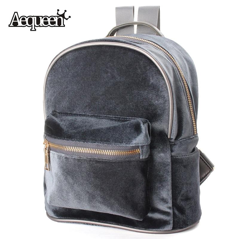 AEQUEEN Fashion Women Backpacks School Bags Cute Velvet Casual Retro Backpack Flannel Mochila Zipper Small Sack Bags 4 Colors