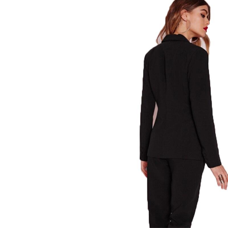 Haoduoyi Black Office pants Suit set  Female Casual Slim Elegant Women's Suits Coat V Neck Sexy Chic Set Suit Blazer or pants