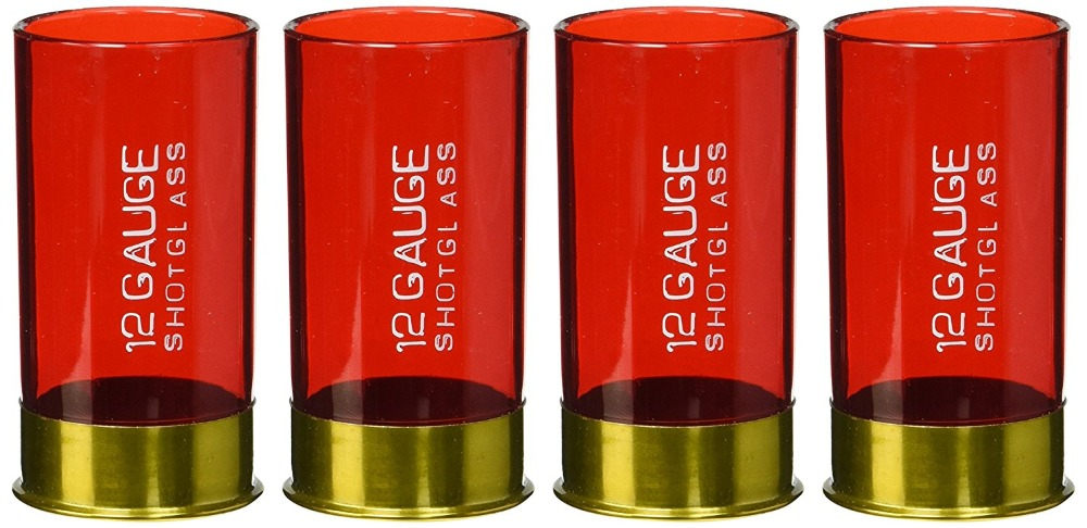 12 Gauge Plastic Shot Glass Red For Party (Pack Of 4)