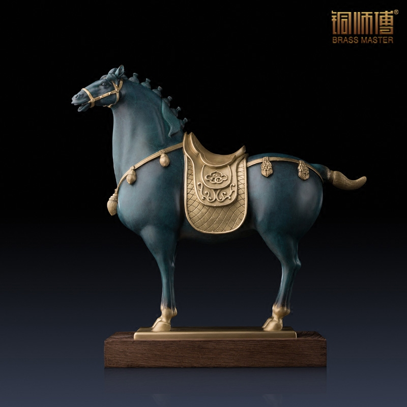High Quality Animal Decor Home Office Ornaments Chinese Br Copper Craft Tang Dynasty Horse Statue With Base Business Gift