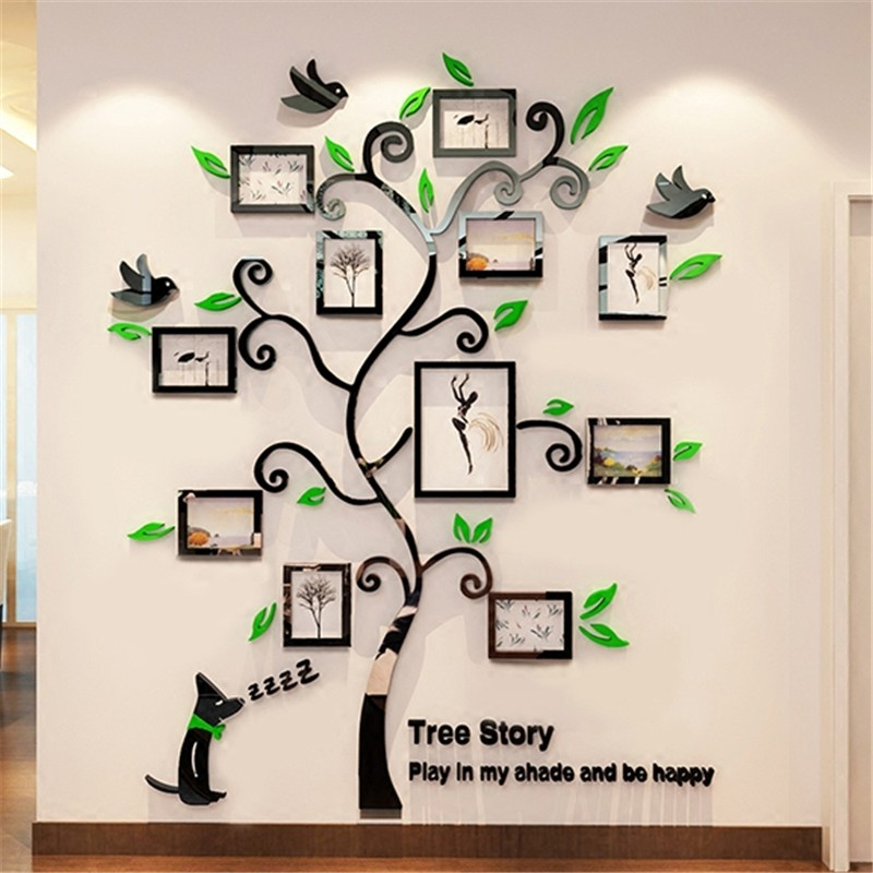 Acrylic Photo Frames wall Family Tree Stickers 3d Three-dimensional - Home Decor - Photo 1