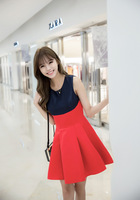 Korean Hit Color Stitching Slim Was Thin Dress A Word Skirt 1546213123