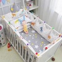 Удобные детские кроватки Постельное белье полный набор сказки Стиль хлопок детская кроватка постельное белье комплект включает Корона бам