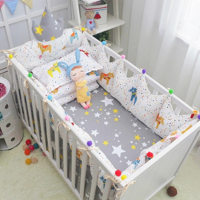Cozy Baby Crib Bedding Complete Set Fairy Tales Style Cotton Cot Linens Kit Include Crown