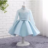 Real Picture High Neck Long Sleeve Flower Girl Dresses Appliques With Bow Light Blue First Communion