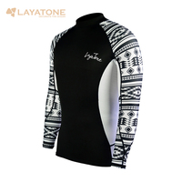 Layatone Rash Guard Men Long Sleeves Swimwear Swimsuit UV 50+Swimming Surfing Bathing Suit Water Sport Beach Fitness Gym Shirts