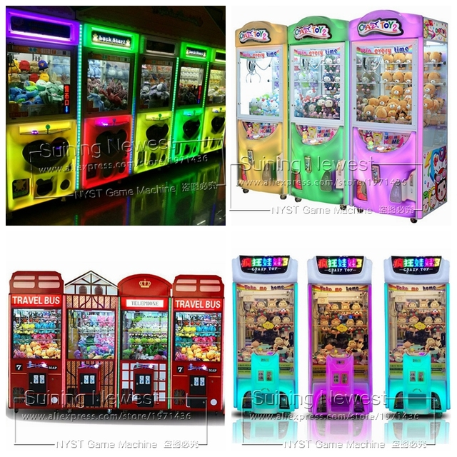 NYST New Luminated Amusement Equipment Token Coin Operated Arcade Games Lighted Doll Toys Cranes Claw Machine For Shopping Malls
