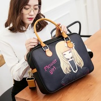 Hot Sale 13 14 15 inch Waterproof Laptop Sleeve Women PU Leather Fashion Notebook Bag PC Personality Cartoon Printed Laptop Bags