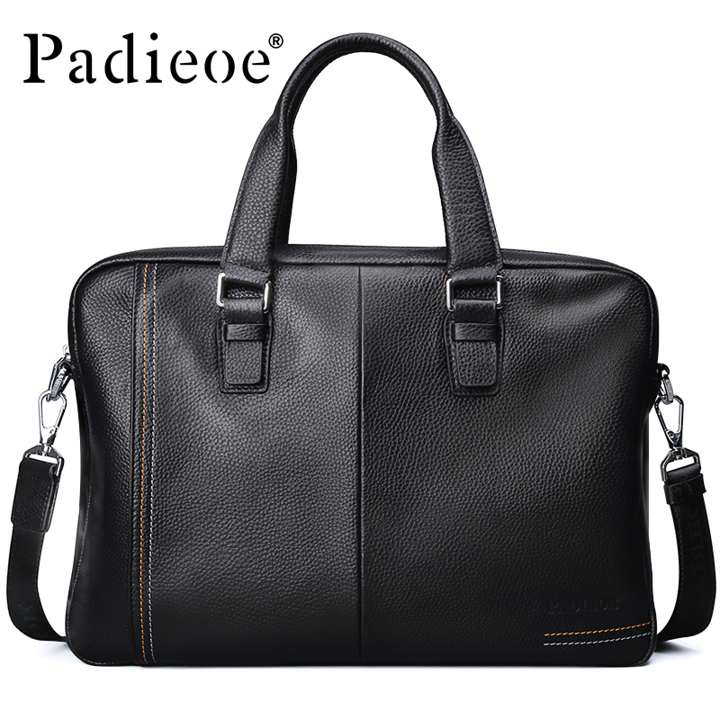 Padieoe Business Men's Briefcase Genuine Cow Leather Luxury Top-Handle Bag For Male Fashion Laptop Tote Bags For Men Casual