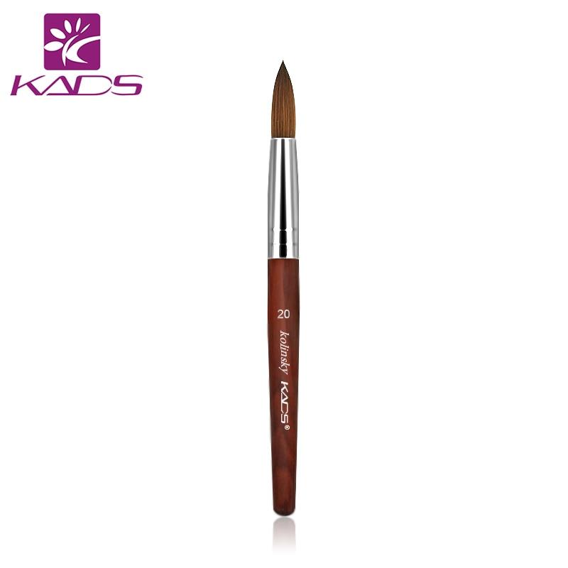 5 pcs/LOT 100% Kolinsky Sable Stylo Rouge Bois Acrylique Brosse taille 20 # Acrylique Brosse pour Nail brosse d'art Professionnel Outils - 2