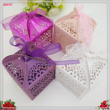 50Pcs/pack Candy Holders Lover Wedding Candy Box Sweets Gift Favor Boxes With Ribbon Sweet Bag Wedding Supplies 5zSH127(China)