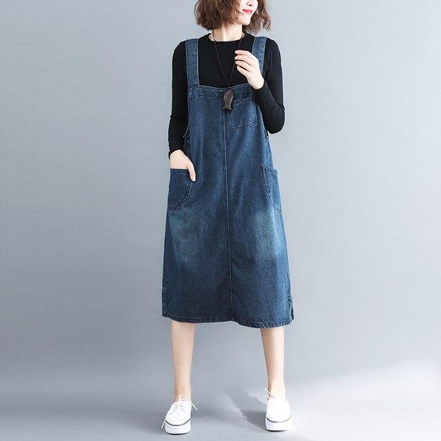 Лето-осень Для женщин платье из джинсовой ткани сарафан платье-комбинезон Винтаж синий свободные повседневная женская обувь джинсы платье