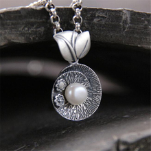 Brand Chinese Elements Leaf Necklaces & Pendants With White Shell Pearl For Women Vintage Style Lady 999 Sterling Silver Jewelry