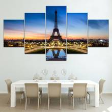 Minimalist Home Decor Family Canvas 5 Set Painting Paris Pagoda Landscape Prints Wall Art Modular Pictures Poster Direct Selling(China)