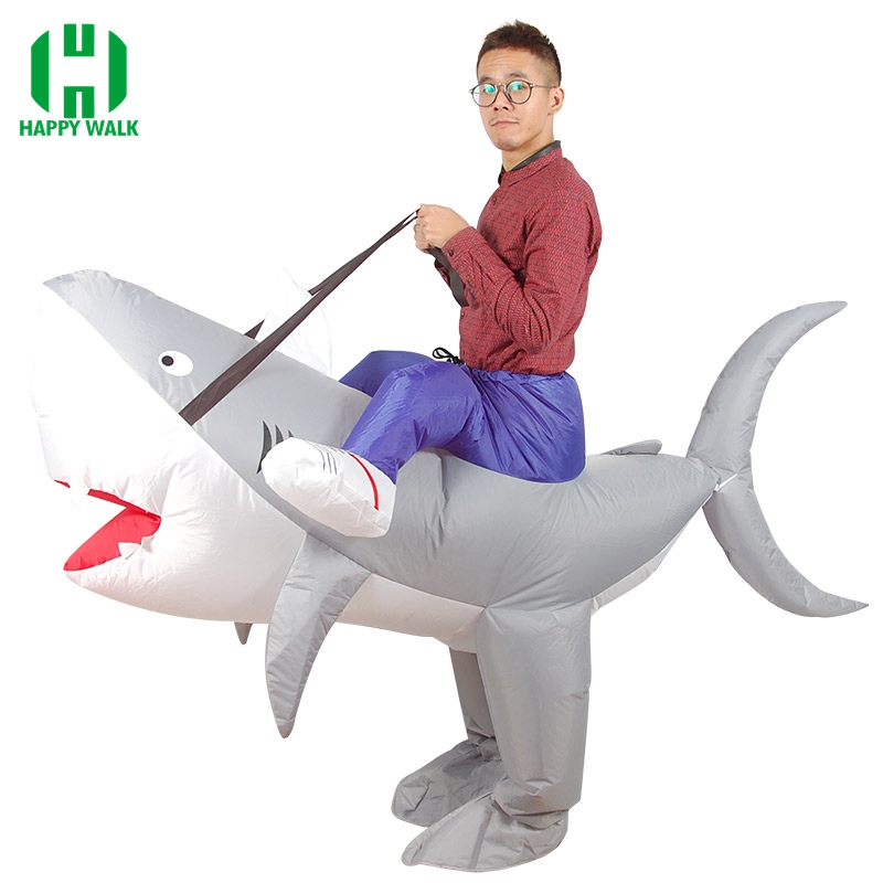 2019 Purim Halloween Inflatable Shark Costume Carnival Cosplay Party Animal Shark Costume Women Men Adult Fan Operated