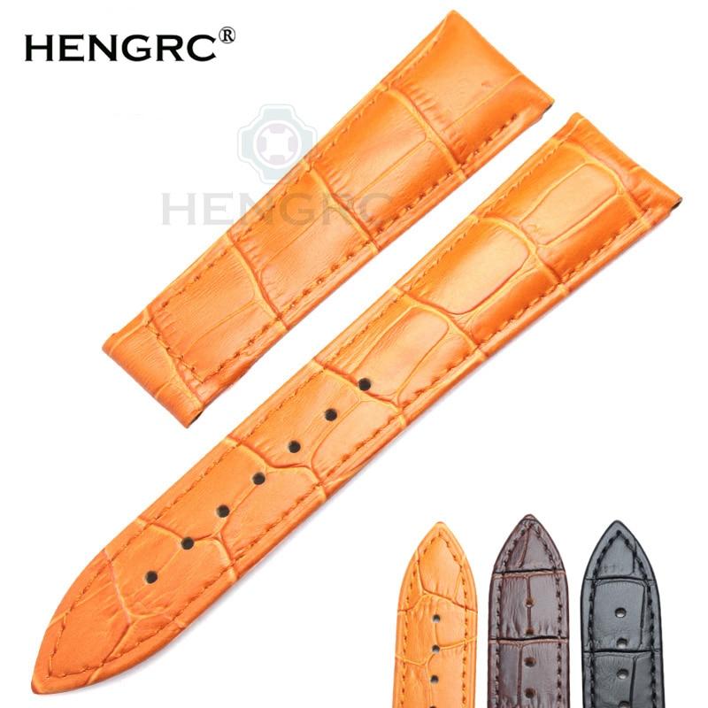HENGRC Pulseiras de relógio 20mm 22mm Pulseira de relógio de couro genuíno Preto Marrom Laranja Cinto de substituição Sem fivela para Omega