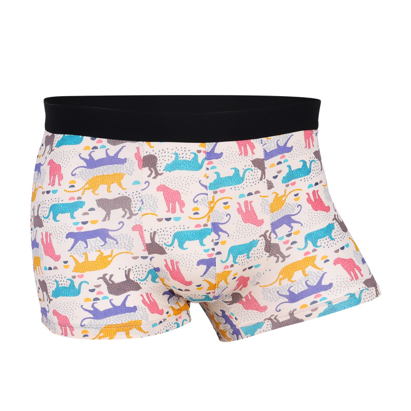 Fashion Youth Man Cartoon Modal Underwear Personality Print Male Boxer Shorts Middle Waist Breathable U Pouch Mens Underpants