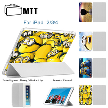 MTT Minions Film Ultra Thin Stand Design PU Leather case for ipad 3 4 2 Cover Flip Smart Cover Smart cover for iPad4 Tablet Case