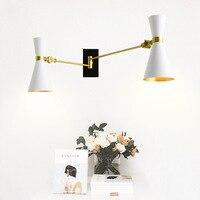 Северной Европы настенный светильник Творческий Деревня Регулируемый бра E27 Спальня освещения лампа для чтения