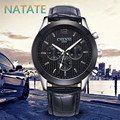 NATATE Men Fashion Luxury Brand CHENXI Rhinestone Watches  Analog Quartz Fashion Design Leather strap Business Watches 1240