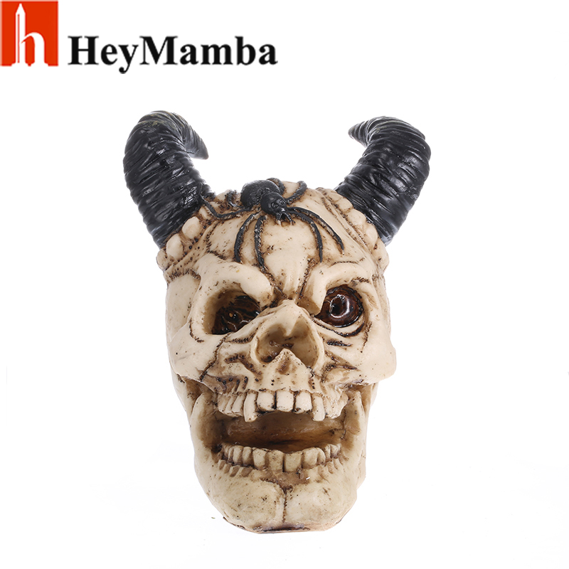 HeyMamba Ram Horned Skull Head Statue Cold Cast Resin Resin Human Skull Skeleton Sculptures Handicraft Home Decoration Art