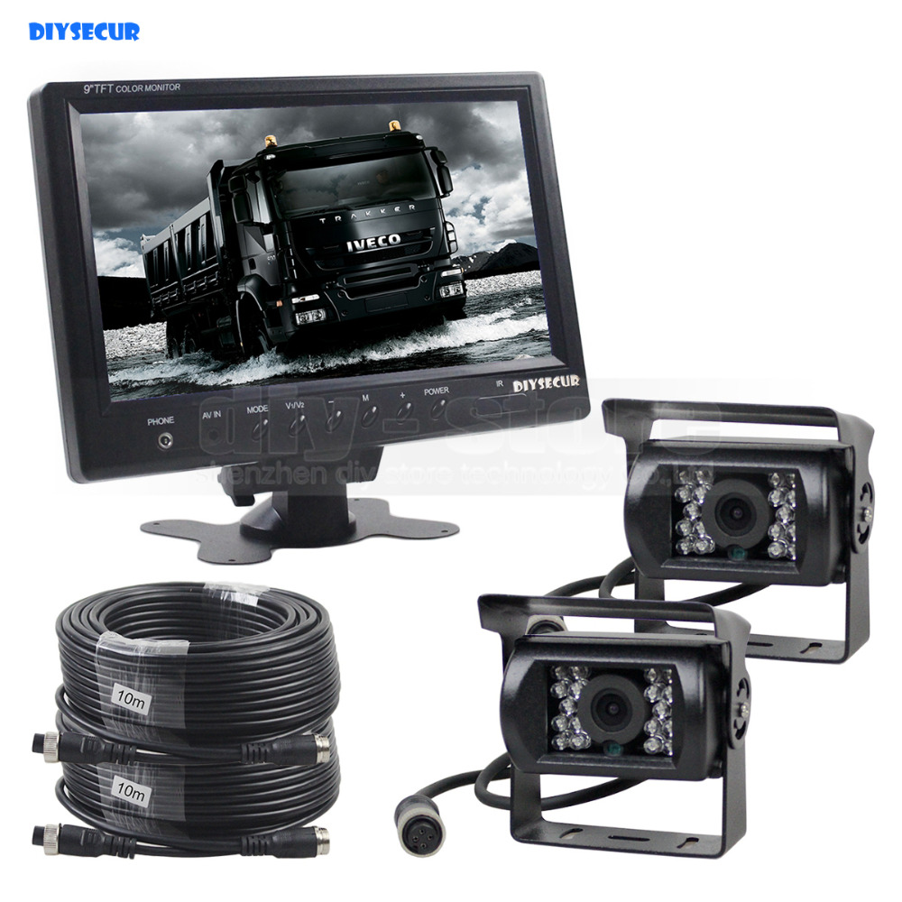 DIYSECUR 9inch Car Monitor Rear View Monitor Waterproof CCD Camera Parking Accessories Kit for Bus Horse Trailer Motorhome 1V2 diykit wired 12v 24v dc 9 car monitor rear view kit backup waterproof ccd camera system kit for bus horse trailer motorhome