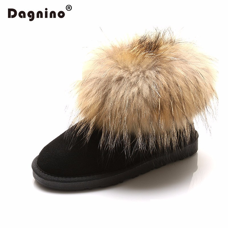 DAGNINO Wholesale Women Fashion Australia Real Fox Fur Genuine Leather Snow Boots 2018 Hot Warm Winter Ankle Shoes Zapatos Mujer fur snow boots winter warm female cotton padded shoes women autumn 2017 australia plush fashion short ankle boot boats mujer hot