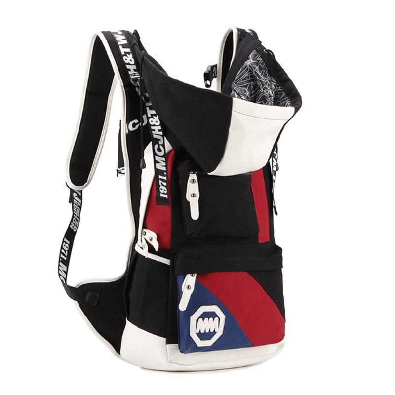 Senkey Style nouvelle mode décontracté toile hommes femmes voyage sac sacs à dos avec capuche chapeau sac à dos adolescent unisexe étudiant sacs d'école-in Sacs à dos from Baggages et sacs    3