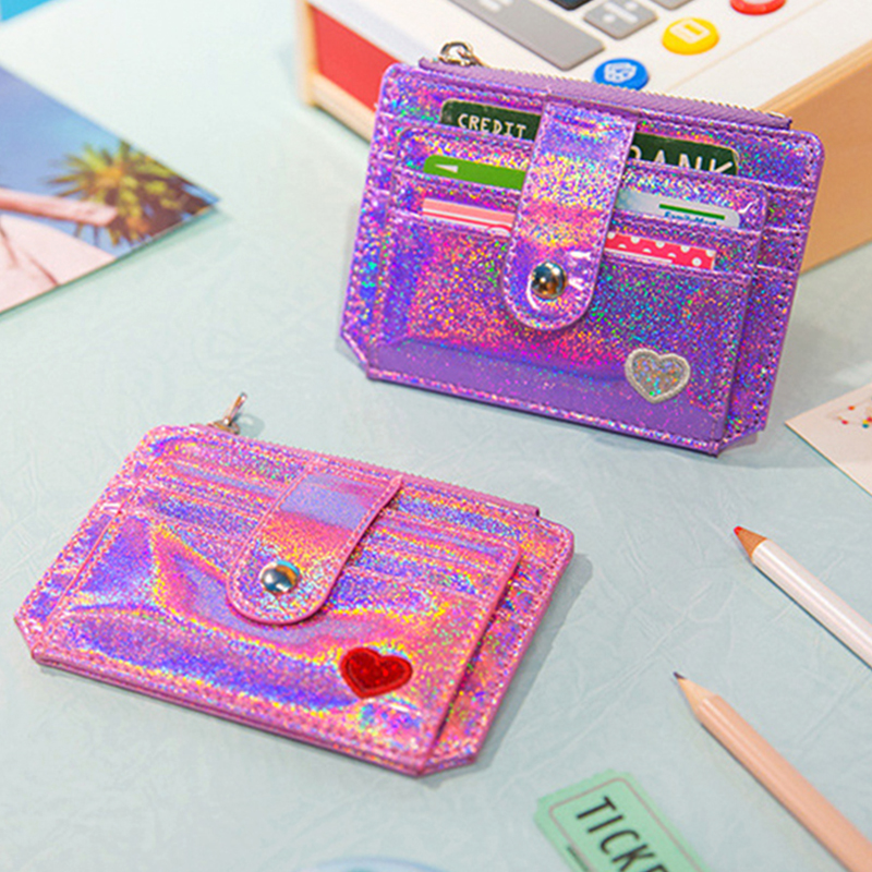 Women Sequins Leather Credit Bank Card Holder Organizer Student Cute ID Card Mini Wallets Pocket For Business Card Cover Case