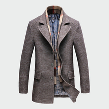 Winter Mens Casual Wool Trench Coat Fashion Business Long Thicken Slim Overcoat Jacket Male Peacoat Brand Clothes M-4XL ML093 cheap Turn-down Collar Single Breasted Regular Cotton Polyester SCHDARROW KNHOR KH Standard Broadcloth About 1 3-1 6kg Zippers