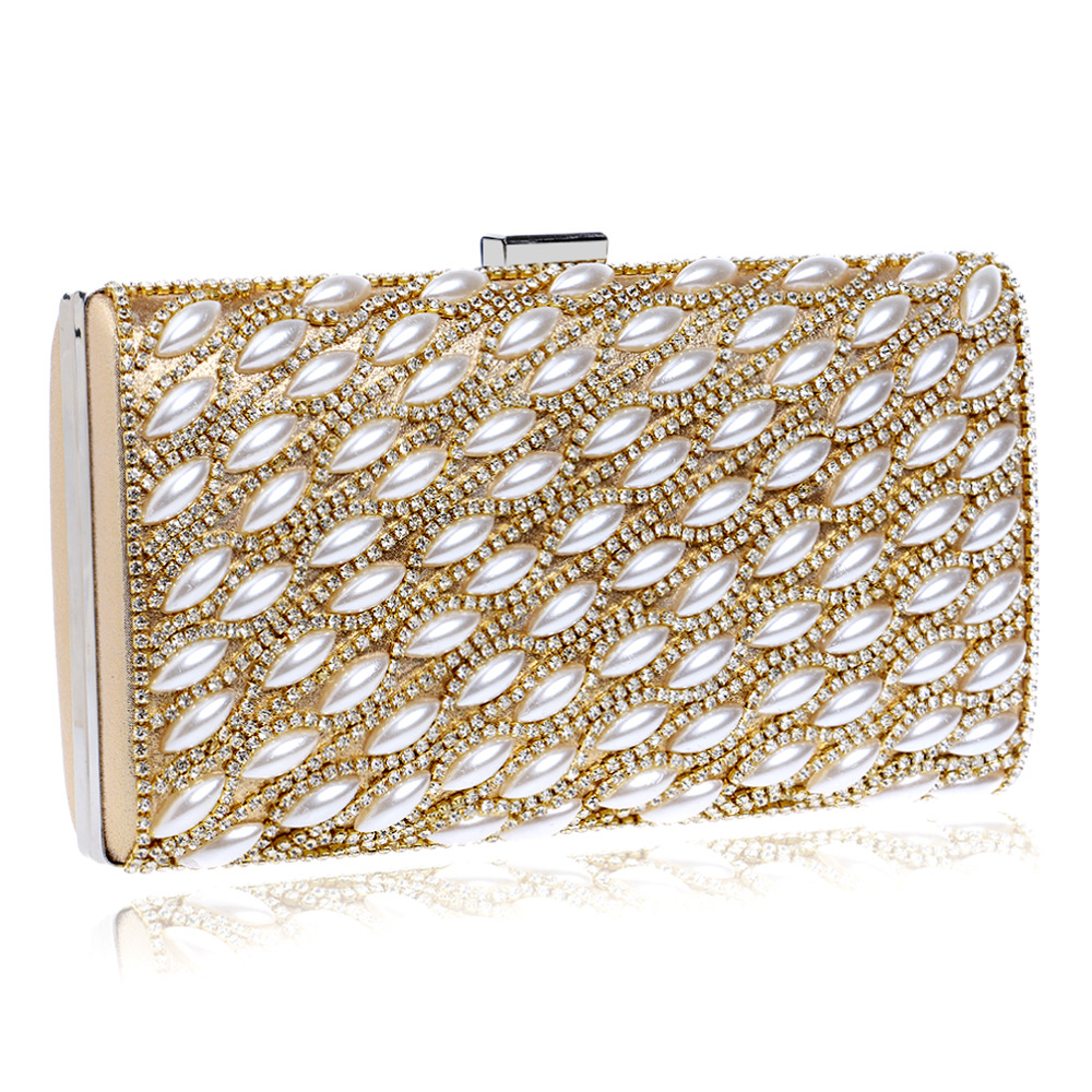 New Hasp Flap Diamonds Bag Single Shoulder Handbag Handmade Pearl Beading Women Evening Bags Messenger Handbags Purses Sacs