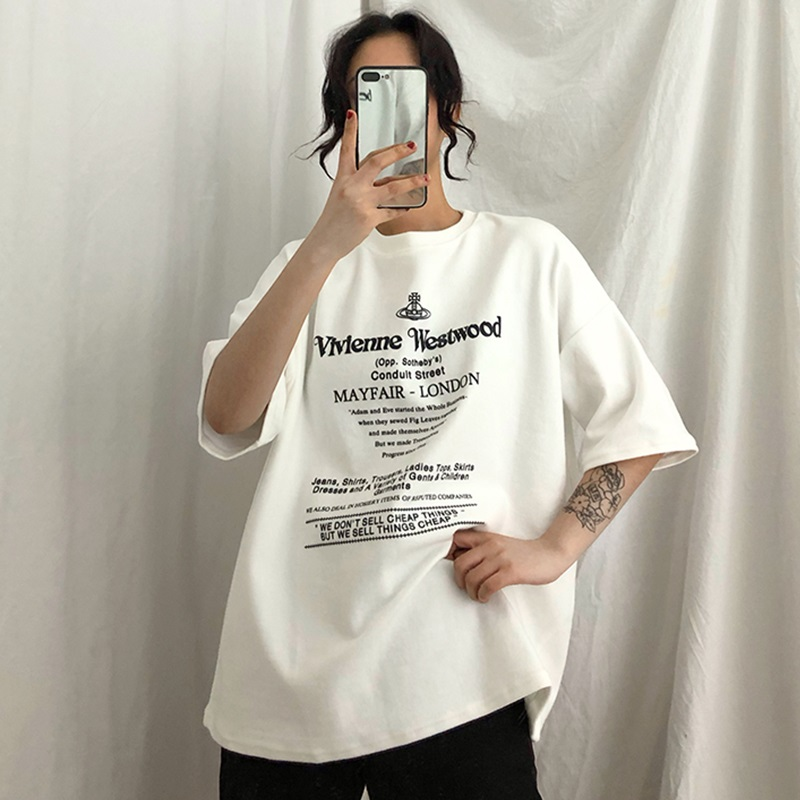 2019 Summer Women's Fashion Large Size Casual T Shirt Harajuku Letters Ulzzang Half Sleeve Funny T-Shirts Women Basic White Tops