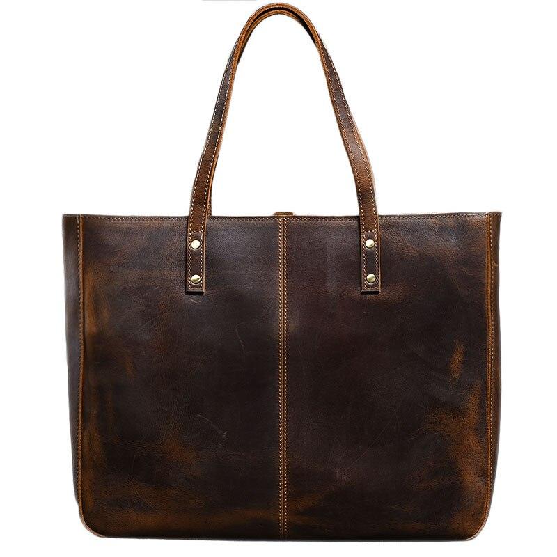 Vintage handmade crazy horse leather Women handbag cross section large capacity 14 Laptop tote bag men and women shoulder bags - 5