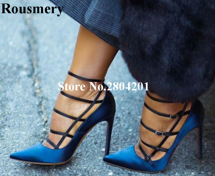 Rousmery Sexy Silk Patchwork Buckle Strap White Navy Blue High Heel Pointed Toe Cut Lady Pumps T Stage Party Dress Shoes Women