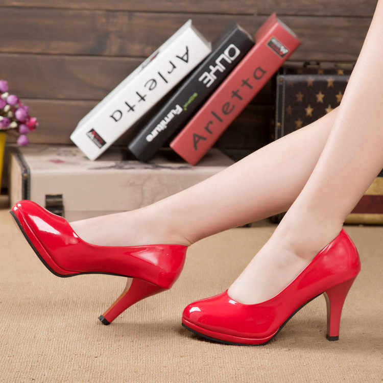Vrouwen Schoenen Lakleder Platform Hoge Hakken vrouwen Schoenen Zwart Wit Werkschoenen Rode Onderkant bruiloft Schoenen plus Size 41 42