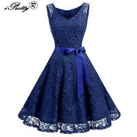 Lace Patchwork Women Vintage Dress Autumn Winter Sleeveless Pin Up Rockabilly Plus Size 3XL Retro Robe