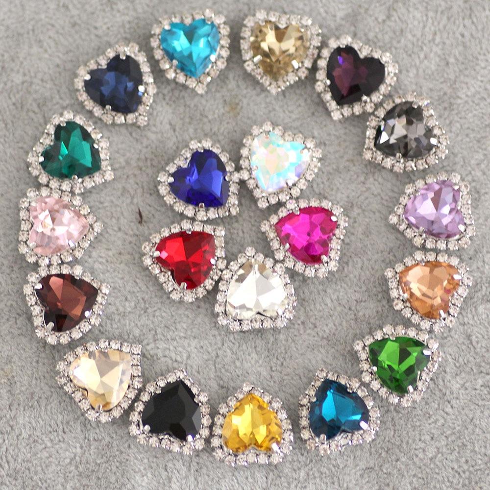 20 штук сердце Форма Crystal Mix Цвет шить на горный хрусталь с коготь настройки Серебряный со стразами и пуговицы с отверстиями для Костюмы