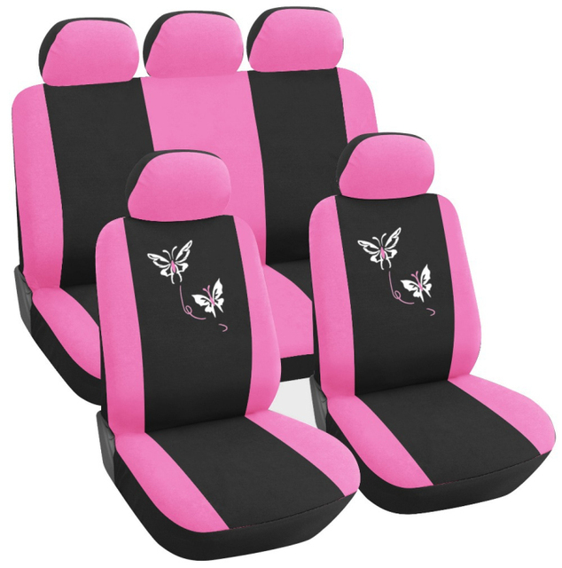 RUICH 9 Pcs Car Vehicle Pink Butterfly Embroidery Design Girly Front Rear Seat Covers Set