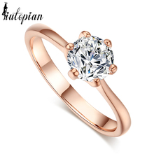 Iutopian Rose  Color Genuine Austrian Zircon Ring Anel For Women With Austrian Crystal Stellux Cubic Zirconia #RG90786